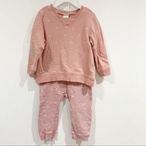 H&M baby girl pink hearts two piece set Sz 9-12M